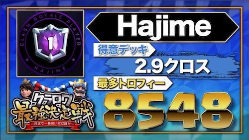 【クラロワニュース】クラロワ最強決定戦 〜日本で一番強い奴は誰だ〜 の参加者(Hajime)