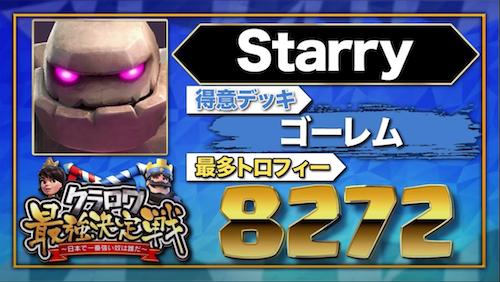 【クラロワニュース】クラロワ最強決定戦 〜日本で一番強い奴は誰だ〜 の参加者(Starry)